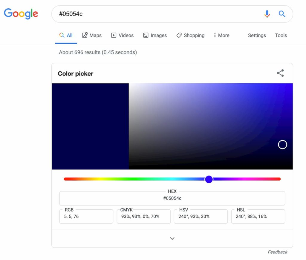 Google's Color Picker is the fastest way to lookup and edit digital colors.